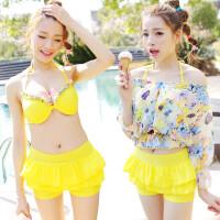 韩国bikini温泉泳衣女分体裙式比基尼三件套小胸聚拢钢托遮肚泳装
