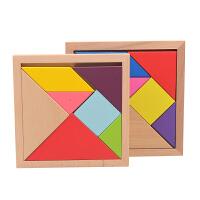 木制彩色七巧板积木宝宝智力木质拼图玩具儿童益智玩具3-5-6-8岁 七巧板大号 16.0cm