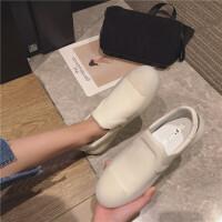 休闲板鞋女2019春季新款时尚软皮透明橡胶底女鞋套脚百搭休闲女鞋
