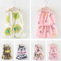 女童宝宝棉绸套装2019夏新款儿童吊带套装两件套夏居家服睡衣