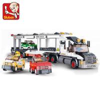 小鲁班拼装积木小颗粒益智男孩拼插儿童玩具6-8-10岁赛车运输车