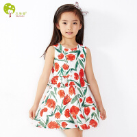 【当当自营】贝康馨童装 女童白底红花连衣裙 韩版田园风淑女童裙