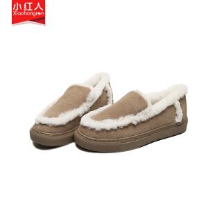小红人【年终狂欢】2018新款牛反绒加绒毛毛鞋女鞋子低跟平底冬季英伦套脚一脚蹬棉鞋百搭一脚蹬W9881