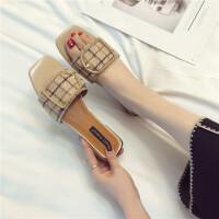 中跟粗跟蝴蝶结凉拖女夏外穿时尚1新款9拖鞋复古休闲单鞋女鞋子