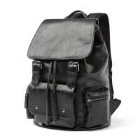 PU皮质日韩男士双肩包潮流学生书包休闲简约旅行背包男女包电脑包 黑色