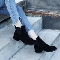 新款秋冬女鞋切尔西短靴女中跟踝靴短筒女靴单靴加绒