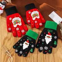 触屏手套女冬季圣诞麋鹿雪花毛线针织少女礼物学生玩手机保暖骑车