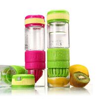 柠檬杯 双层钢化玻璃第二代手动榨汁运动便携式喝水 玫红色