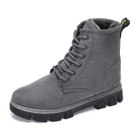 高帮棉鞋百搭加绒棉女鞋学生韩版马丁靴防水雪地靴冬季保暖休闲鞋 灰色 A11K