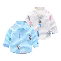 童装衬衫长袖春季2019新款儿童花衬衣小男孩宽松衬