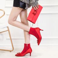 红色婚鞋女2018冬季新品细跟尖头方扣水钻高跟短靴加绒新娘鞋 红色9CM无扣 (含包包)