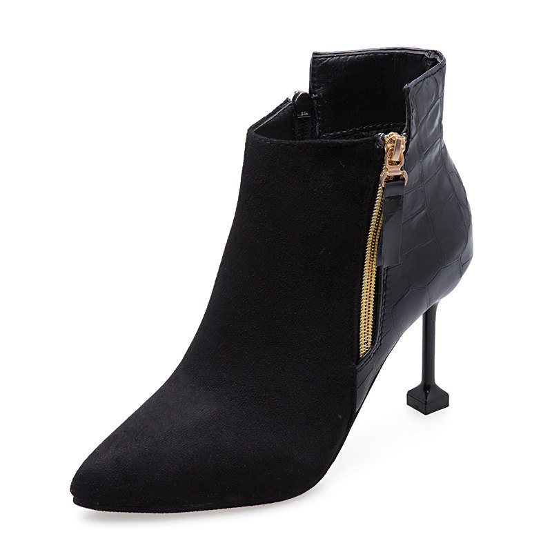 小跟短靴女春秋细跟马丁靴2019新款高跟鞋秋冬瘦瘦靴网红尖头裸靴