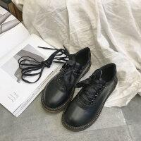 可爱软妹小皮鞋女复古英伦学院风平底布洛克加绒棉鞋学生