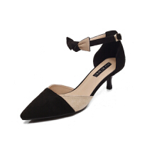 新款鞋子中跟春一字扣拼色3厘米高跟鞋女单鞋矮细跟尖头低跟
