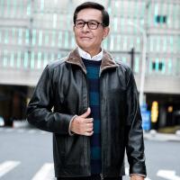 老人皮夹克中老年男装加绒加厚款皮衣爸爸冬装外套中年40岁50秋季