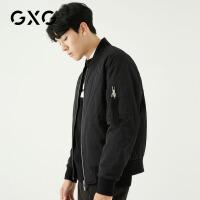 GXG男装 冬季男士时尚青年韩版都市潮流短款保暖侧边臂带设计夹克