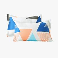 当当优品对装枕罩 纯棉200T加密斜纹枕罩48x74cm 永恒岁月(蓝)
