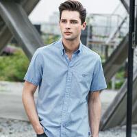 吉普JEEP短袖衬衫男2019夏季新款男士全棉衬衣商务休闲男装翻领上衣多色