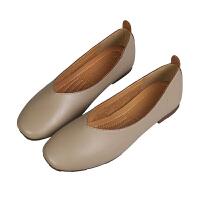 豆豆鞋2019新款春秋潮款奶奶鞋子大码女鞋41平底单鞋43孕妇40