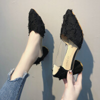 尖头高跟鞋女春季新款韩版时尚百搭浅口半透明粗跟小仙女流苏单鞋