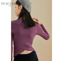 紫色针织衫女长袖2019新款春圆领修身chic打底衫上衣太平鸟女