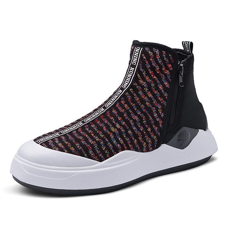 男鞋白色高帮鞋子休闲运动板鞋高邦嘻哈韩版潮流百搭潮   冬季时尚新款女鞋男鞋