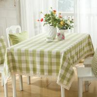 木木家 现代简约棉麻浅绿色格子防水布艺桌布 餐桌茶几柜子台布 绿色大格子 140*240cm