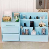 双抽屉桌面化妆品收纳盒大容量双抽屉桌面整理置物盒收纳盒创意欧式塑料家用化妆品收纳盒颜色随机