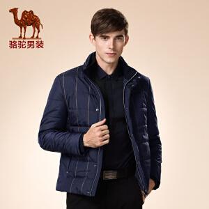 骆驼男装 冬款新品青年立领双层领格子商务绅士外套棉服男