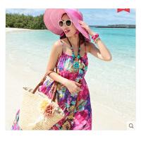 时尚休闲长裙 新款沙滩裙波西米亚吊带雪纺印花连衣裙海边显瘦度假长裙