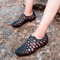 夏季洞洞鞋外穿拖鞋男沙滩鞋韩版潮防滑休闲个性包头凉鞋镂空黑色