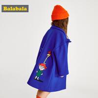 巴拉巴拉童装女童大衣秋冬羊毛呢儿童外套中长款