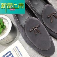 新品上市英伦皮鞋男韩版尖头复古休闲百搭豆豆鞋懒人一脚蹬型师男鞋