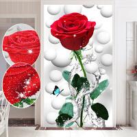 异形钻石画满钻客厅十字绣2019新款玄关竖版滴水红玫瑰花卧室简单