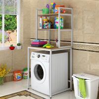 阳台洗衣机置物架上方储物架 方架卫生间浴室收纳架阳台储物架 【三层】 白架+浅胡桃