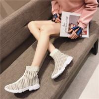 休闲板鞋女2019新款时尚飞织透气厚底套脚女鞋英伦风百搭气质女鞋