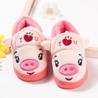 1-2岁宝宝可爱卡通棉拖鞋包跟加绒加厚保暖棉鞋防滑平底毛拖鞋