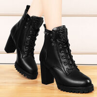 VXVF 新款女鞋欧美时尚系带铆钉短靴女英伦粗跟马丁女靴 VF5801黑色