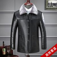 中老年人冬季男装PU皮衣中年毛领爸爸装保暖加厚男士皮夹克外套
