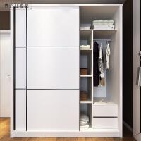 现代黑白色条纹大衣柜推拉移门衣橱家具整体组装 2门