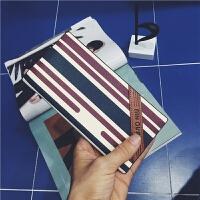 日系男士条纹长款钱包皮情侣钱包长款韩版情侣新潮a钱包 蓝红色