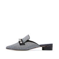 【 限时4折】哈森 新品时尚街头羊皮革英伦格子珍珠尖头穆勒风低跟拖鞋HM87401