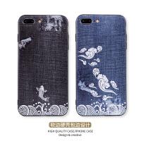 53iphone7plus手机壳苹果8中国风仿牛仔全包防摔6s保护套
