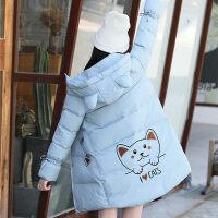 女少女冬装外套加厚棉衣2019新款韩版中长款初中学生女可爱棉袄