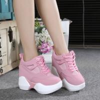 坡跟厚底内女鞋系带高跟休闲鞋女厚底松糕底粉色运动单鞋 粉红色 1039 35 偏小半码