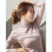 高领打底衫女秋冬修身黑色长袖t恤韩版洋气加绒内搭上衣