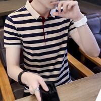 男士短袖T恤夏季半袖打底衫潮流条纹男装翻领POLO衫上衣