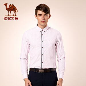 骆驼男装 秋季新款微弹扣领尖领纯色修身长袖衬衫 男士衬衣潮