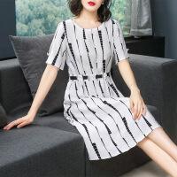 棉麻连衣裙2019夏装新款女装条纹棉绸裙子气质夏天亚麻阔太太高贵