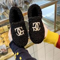 欧洲站羊羔毛雪地靴18冬季毛毛鞋厚底金属水钻懒人船鞋
